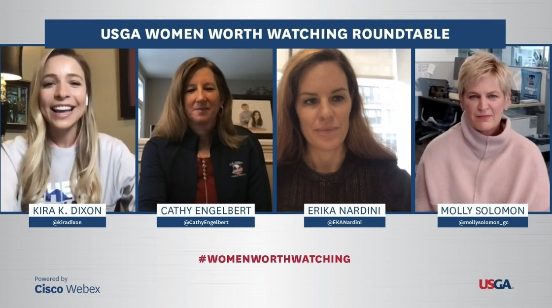 """File this under: """"Empowering Career Moments."""" Such a privilege to moderate this panel of trailblazing women in sports! Click the link to watch the full roundtable discussion. Thank you for joining @CathyEngelbert @EKANardini @mollysolomon_gc  @uswomensopen"""