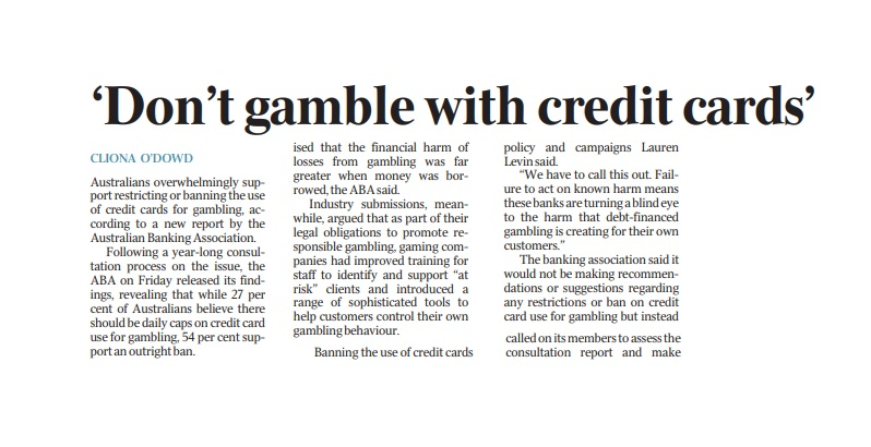 Approx 20% of sport & race bettors are likely to experience gambling harm. Using credit can make it worse. @ausbanking says 81% of Australians are concerned about gambling on credit cards; majority align with @vicrgf's position for a ban. https://t.co/v4UgCm2nwI https://t.co/3DocUeRDJA