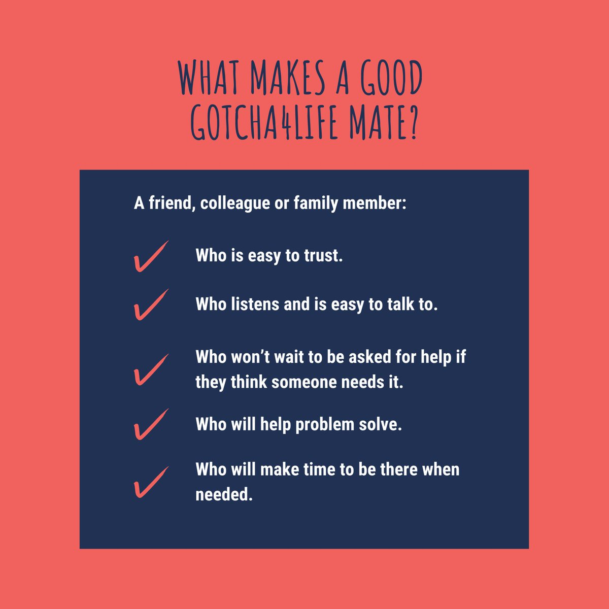 When identifying your #Gotcha4Life Mate, look for these characteristics. After you become a Gotcha4Life Mate, practice these values to ensure productive, positive mateship. Learn more about the #MindYourMate pledge today!  . #mentalfitness #mentalhealth