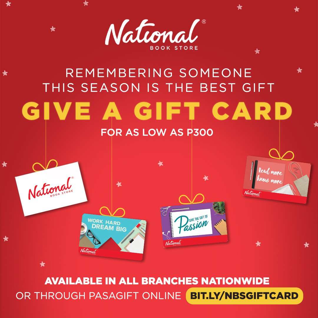 Need a last-minute gift for your lived ones? Get National Book Store Gift Cards! It can be reloaded and used to shop for books and supplies at any NBS branch nationwide.  Shop for it from any of our branches or online: . #NBSGiftCard #NBSgifts #NBSeveryday