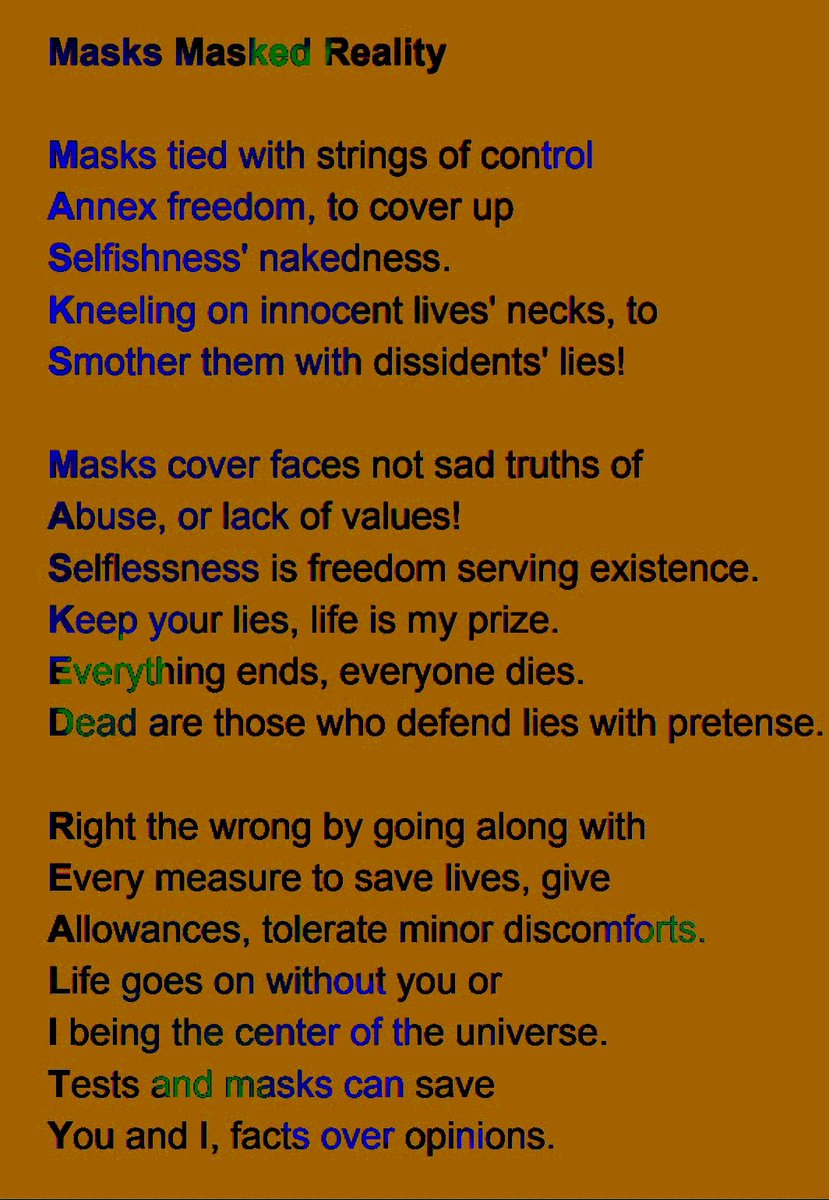 Masks Masked Reality, #acrostic #poetry #realisticpoetry #covid19 #selfish #bigotry #changewithin #2020 #humanity #empathy #choice #responsibility