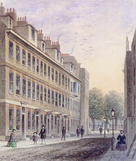 Welcome to Fludyer Street, which was flattened in the 1860s to make way for the current @FCDOGovUK building. Houses on Fludyer St had been home to parts of the Foreign Office during the first half of the 19th Century.