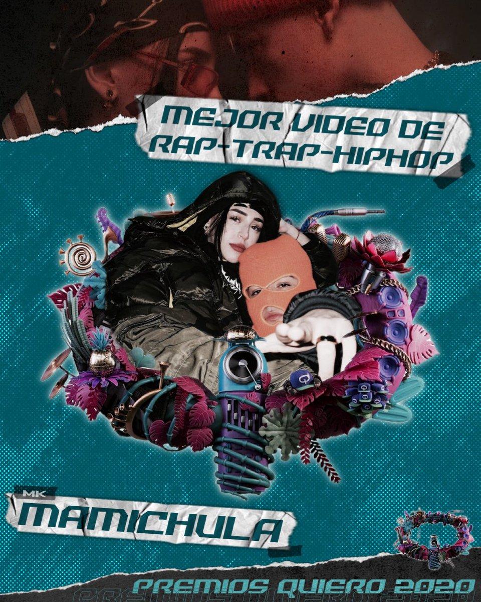#PremiosQuiero2020   Mejor Video de Rap/Trap/HipHop: #Mamichula - Trueno, Nicki Nicole, Bizarrap.   Mejor Encuentro Extraordinario:  #EllaDice - TINI, Khea.   Mejor Video Artista Femenino:  #HighRemix - Maria Becerra, TINI, Lola Indigo.