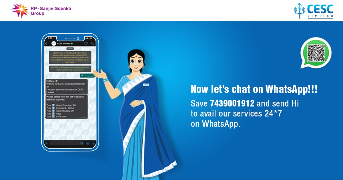CESC always strives to serve you better. Chat with us anytime on WhatsApp and get the Help you need! Scan the QR code or Chat with us on 7439001912.  #cesc #cesclimited #cesckolkata #cescltd #digital #cescatwork24x7 https://t.co/auEJ7d8FAR