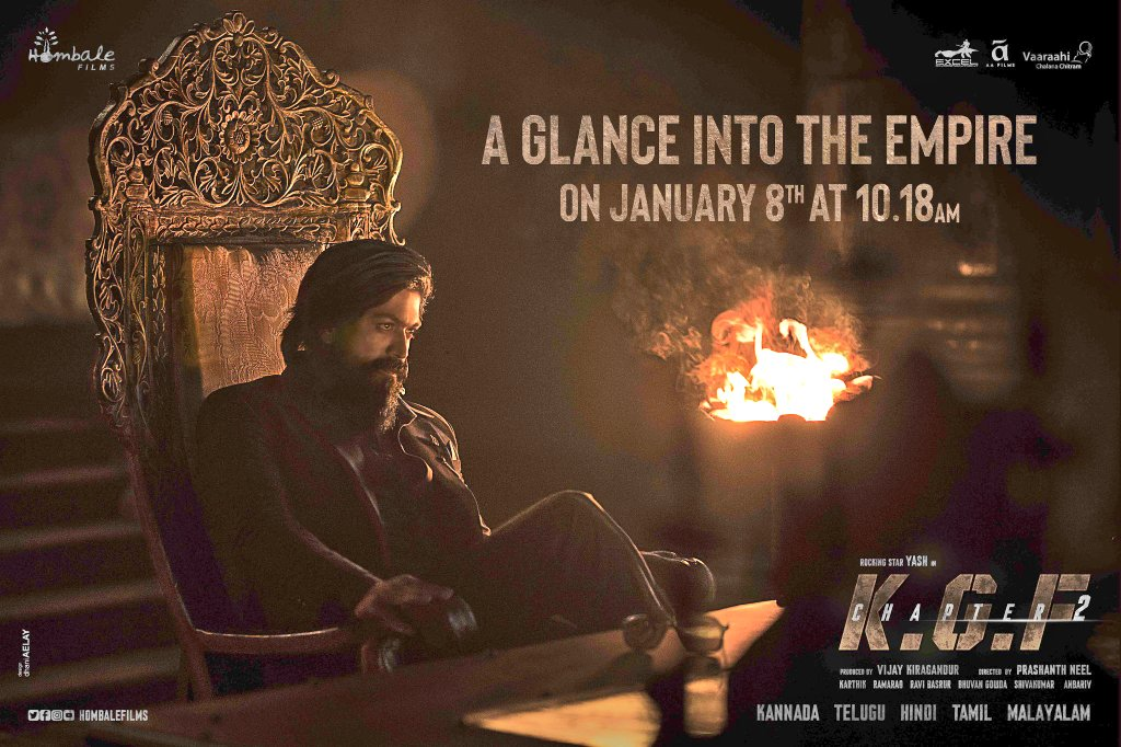 A sneak peak into the world of brutality #KGFChapter2TeaserOnJan8 at 10:18 AM on @hombalefilms Youtube channel :   @TheNameIsYash @prashanth_neel @duttsanjay @TandonRaveena @SrinidhiShetty7 @BasrurRavi @bhuvangowda84 @Karthik1423 @excelmovies #AAFilms