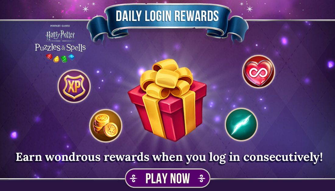 Don't miss out on a free gift! What are you waiting for? A daily reward awaits you!  Collect your free Daily Login Reward NOW ➡️   #HarryPotter #PuzzlesAndSpells #Match3