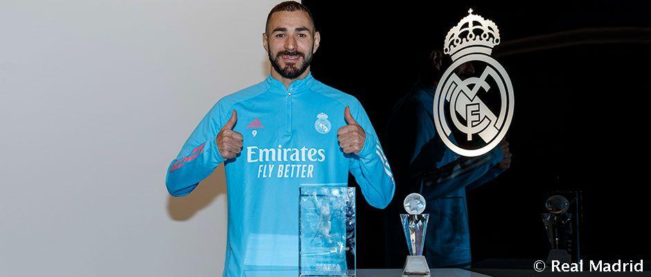Karim @Benzema meraih Alfredo Di Stéfano Trophy sbg pemain terbaik di #LaLigaSantander musim 2019/20 versi #PremiosMARCA2020.