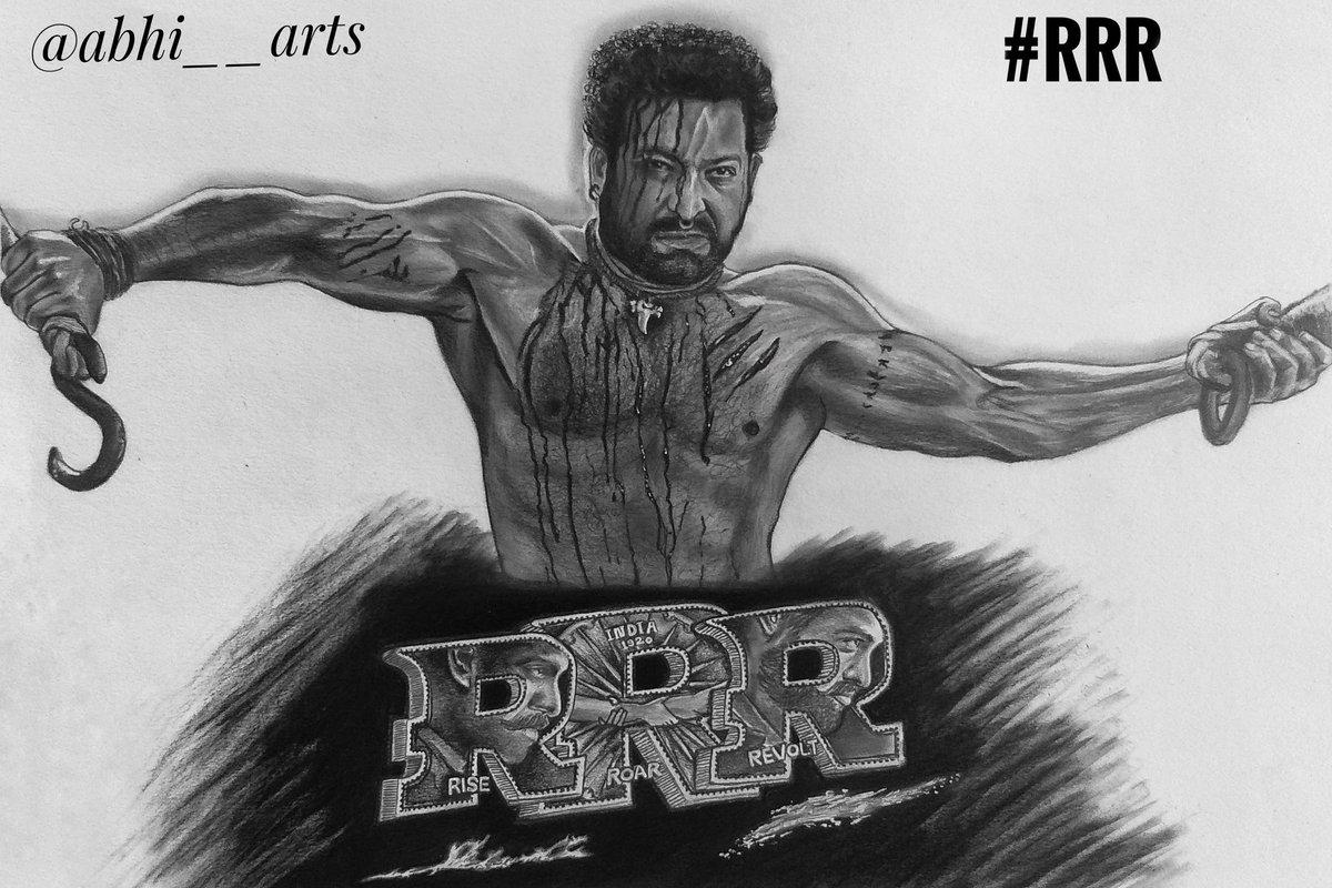 Pencil art by me. A sketch of #JrNtr sir   #RRRMovie #RRRDiaries #RRR #BHEEM #SSRajamouli #RamarajuForBheem  #RamCharan #BheemFirstLook @RRR Movie @tarak9999  @AlwaysRamCharan @bvvmovies  Follow me on instagram -   for more updates