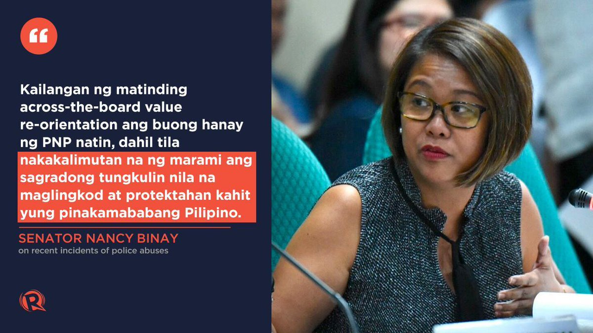 """Something is deeply wrong when you have both top cops and rank-and-file who flout the law.""  In response to the police killing of an unarmed mother and son in Tarlac, Senator Nancy Binay reminds the Philippine National Police of their duty to serve and protect all Filipinos."