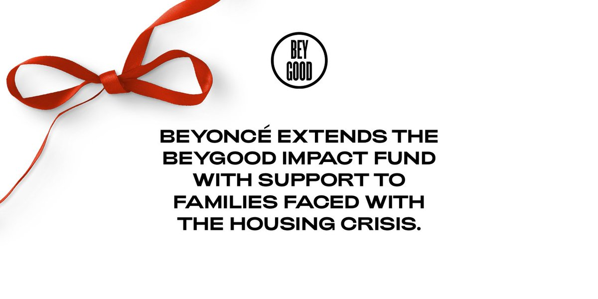 Beyoncé is giving $5k grants to individuals and families facing foreclosures or evictions. Online Applications open January 7, 2021 @