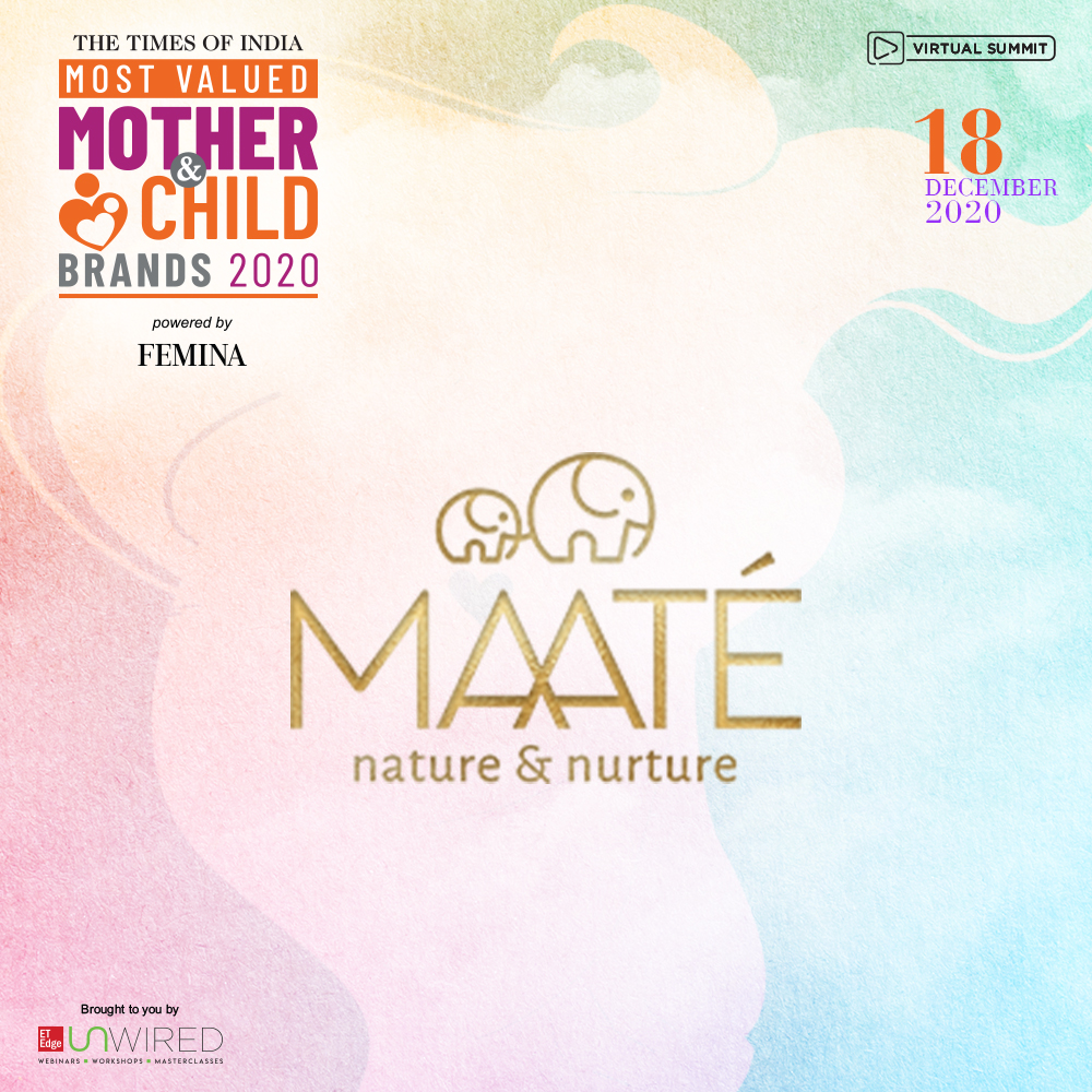 ET EDGE recognizes Maate  as one of The Times of India  Most valued mother and child brands 2020-21 for epitomising world-class standards. We salute their spirit. #ETUnWired #ToIMothernChild