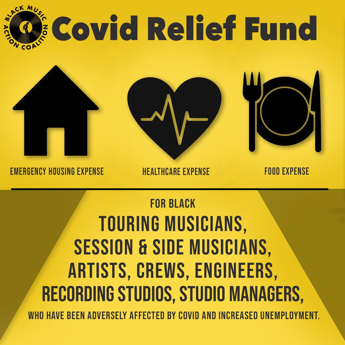 BMAC has launched our COVID RELIEF FUND‼️ This money is for direct support for our brothers and sisters in the industry who cannot live on a one time $600 check. Applications found here: