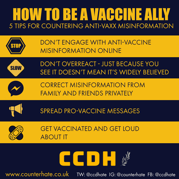 You can help counter lies about Covid vaccines.  Share this infographic to get the word out on how we can avoid boosting anti-vaccine narratives and instead counter them with positive information.