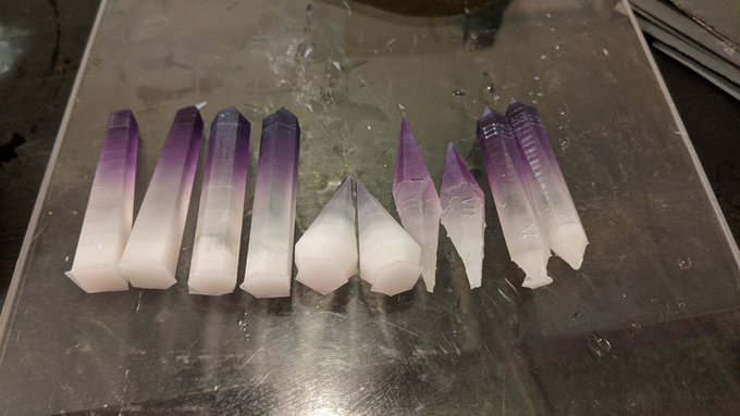 """So much sanding to do...  But I'm liking them!   These are """"crystal"""" D&D dice I designed based on stick"""