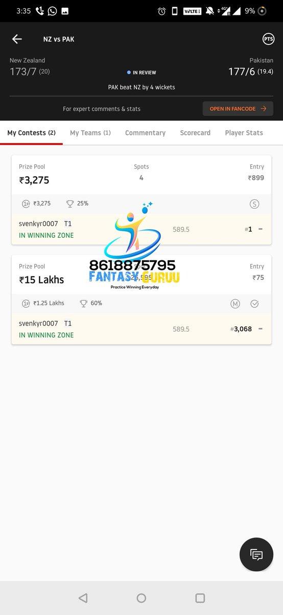 1more ultra cleansweep win from #NZvPAK match🔥 🎉.6th win in a Row🥳 For teams contact us at whatsapp 8618875795. #Dream11  #dream11teams  #dream11tips #ISL  #t20 #AUSvIND  #NZvWI  #SAvENG #LPL2020  #BBL10 #LPLT20 #NBA2K21 #NBA #INDvAUS  #TeamIndia  #ChampionsLeague  #CBAleague