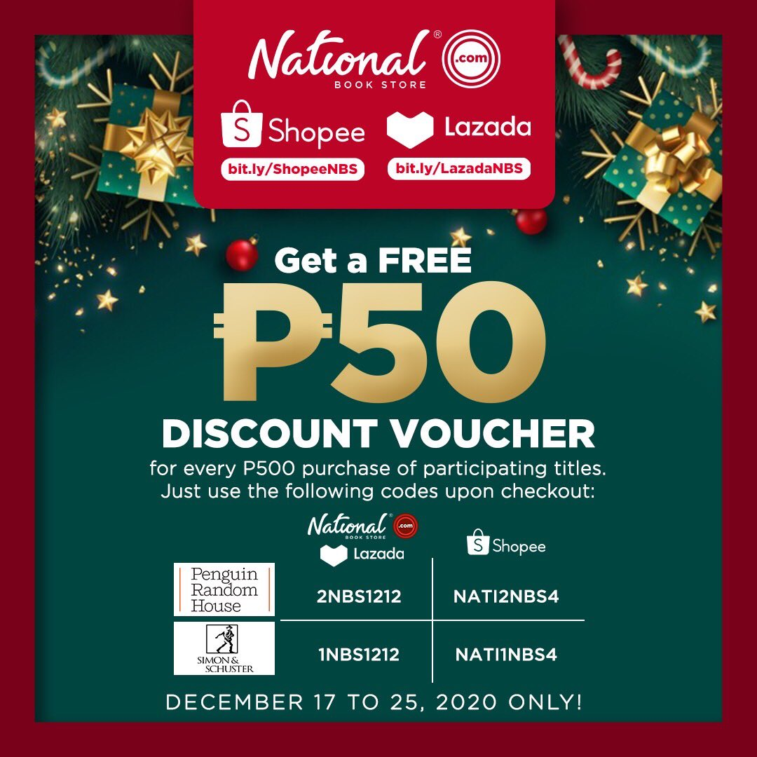 Get a FREE P50 discount voucher with every P500 purchase of participating titles! Just use the appropriate codes upon checkout.  Shop now: 🔗 🔗 🔗  #NBSgifts #NBSsale #NBSeveryday