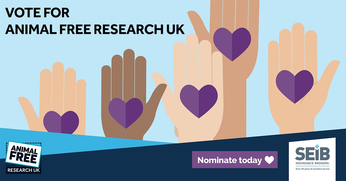 Vote for Animal Free Research UK for our chance to win the top prize of a £10,000 grant in the SEIB Insurance Brokers Charity Awards.  It's quick & easy to vote online -    Nominations open until 5pm on the 12th January 2021.  #KinderScience #SEIBHere2Help