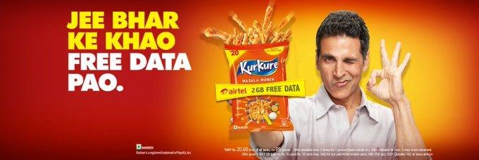 "New Print Avdt:  @akshaykumar  sir for #KurkureSnacks.  ""Jee bharke khao, free data pao""Collision symbol"