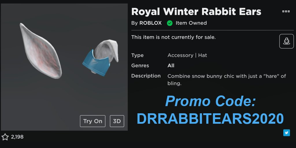 Lily on Twitter: Another Free Promo Code Enter DRRABBITEARS 2020