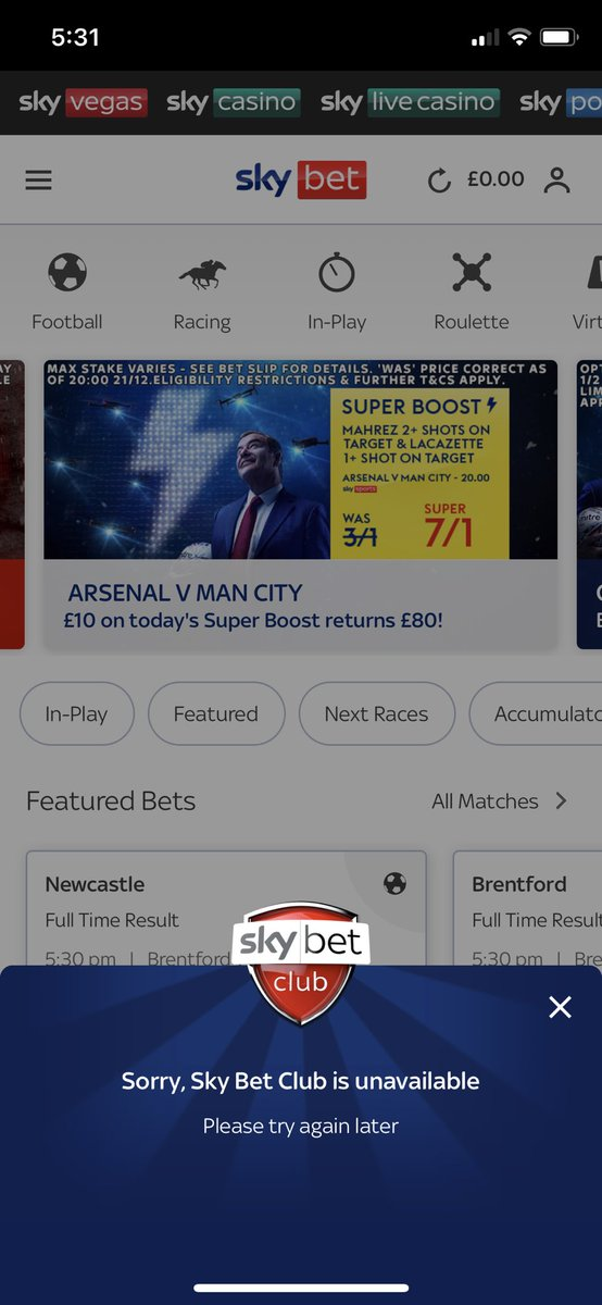 sky bet not working on iphone