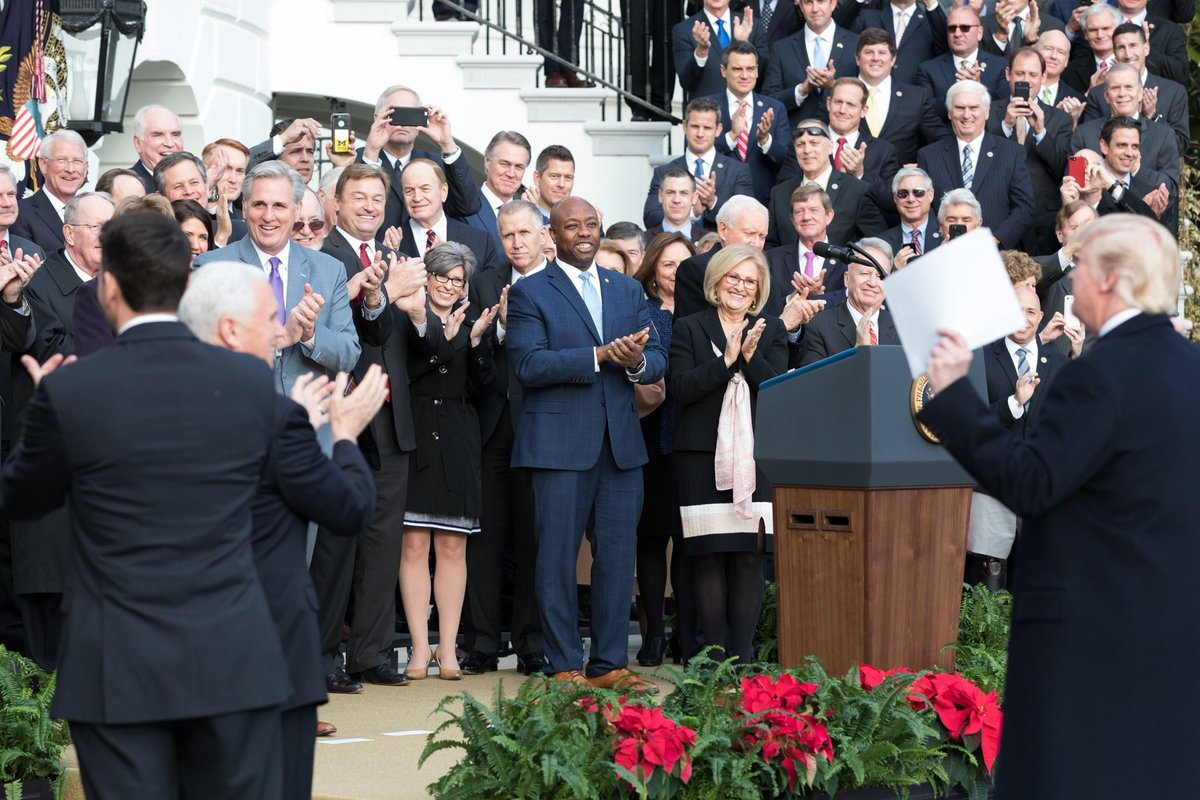 Thanks to President @realDonaldTrump's leadership, three years ago today the HISTORIC Tax Cuts and Jobs Act was signed into law, putting more money back in the pockets of hard-working Americans all across the Country! 🇺🇸