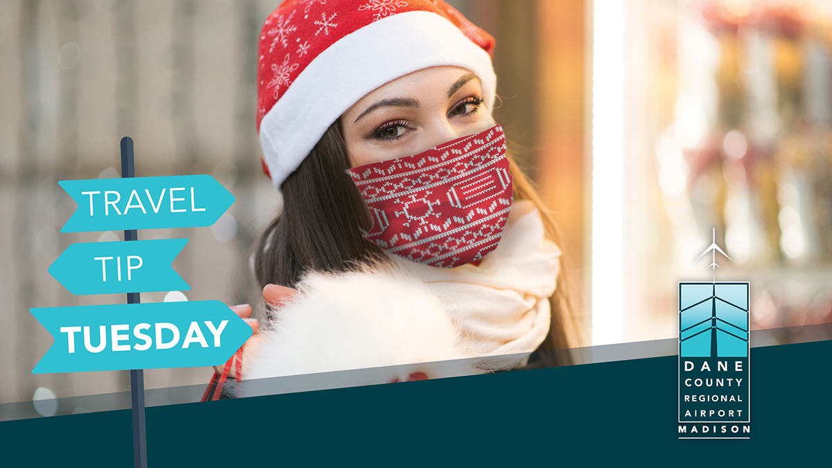 Travel Tip Tuesday! Remember to wear your best ugly (or cute) holiday mask in the airport and on your flight to keep yourself and other passengers safe. If you forgot yours, you can find complimentary masks at the Airport's mask stations.  #TravelTipTuesday #MSNAirport