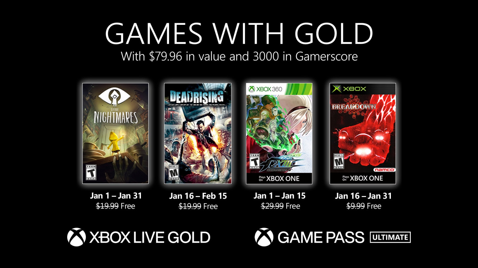 Xbox Live Games with Gold January 2021