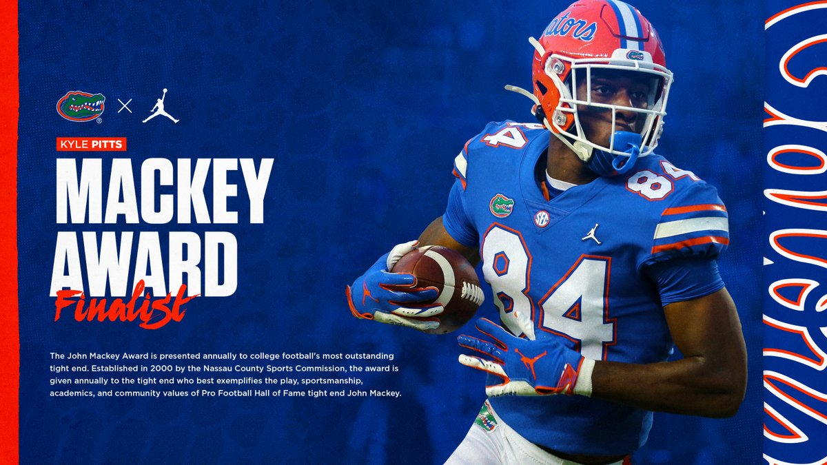 Most outstanding TE in the country, @kylepitts__!  Congrats on being a finalist for the Mackey Award. #GoGators
