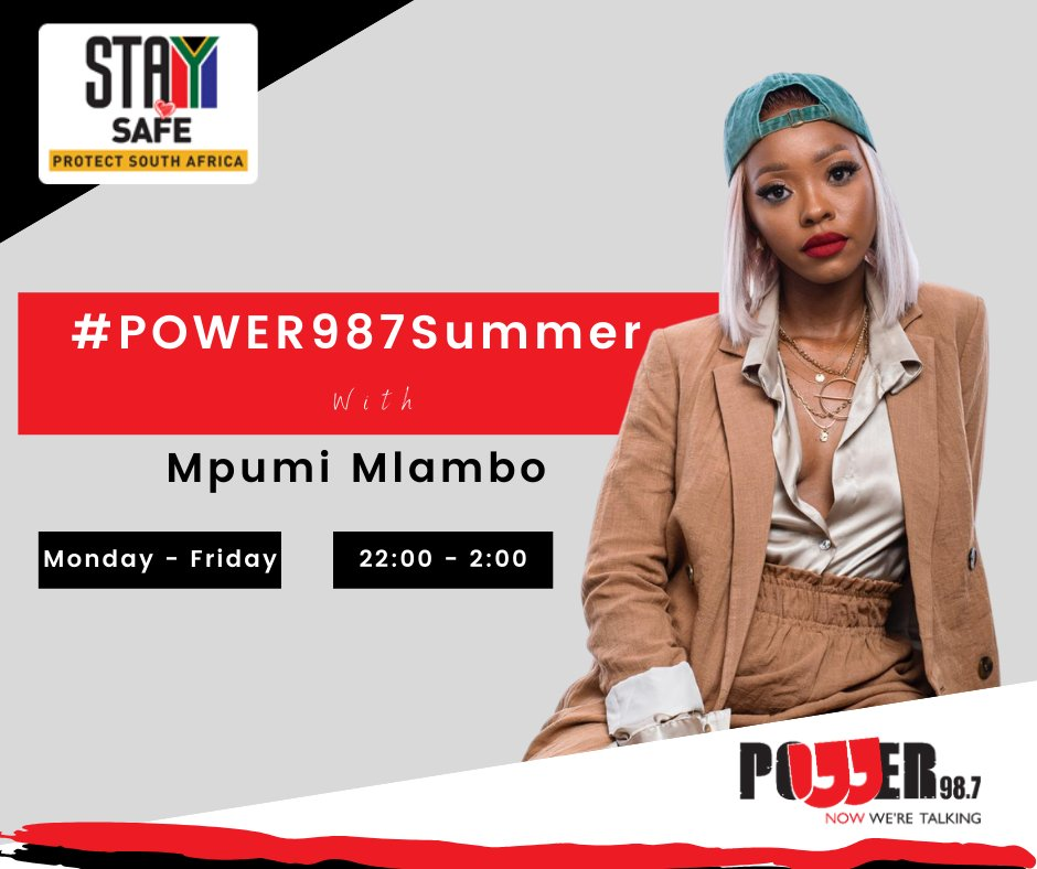 It's #POWER987Summer late nights with @MpumiMlambo2! She's keeping you entertained until 2:00. Where are you listening from this evening?