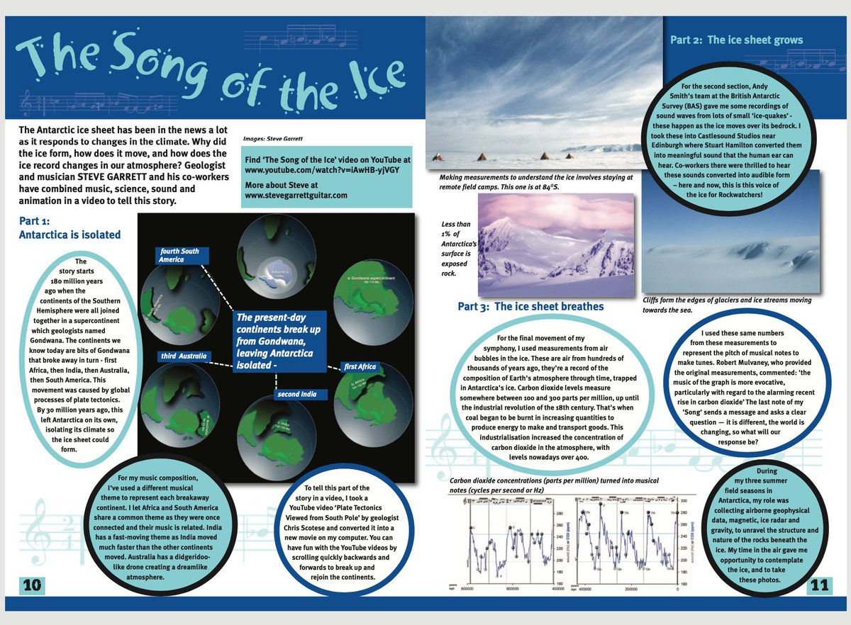 Delighted that #TheSongOfTheIce features in this month's edition of @rockwatchclub  Magazine  that aims to 'introduce children and young people to the amazing world of geology'.