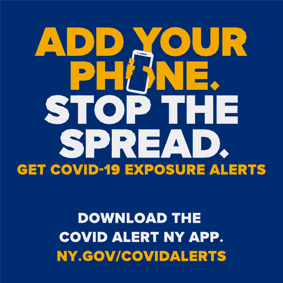 Get tested, wear a mask and download the COVID Alert NY app today! We're all in this together. Visit  to help protect your community while maintaining your privacy. #addyourphone