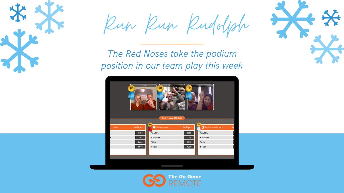 We've had so many red noses in the mix this week! Also, team shade and holiday sweaters. Helpful.   #virtualteambuilding #virtualevents #virtualholidays #holidayparties #runrunrudolph