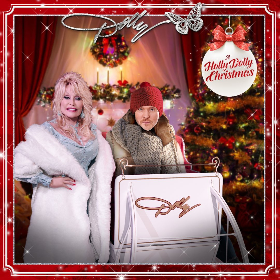 I think I'll cuddle up and cozy down with Mr. @MichaelBuble in my sleigh ❤️ Make your very own #AHollyDollyChristmas card here: