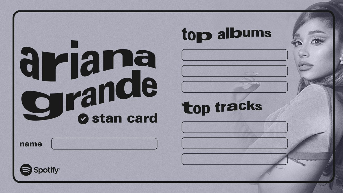Replying to @Spotify: Ari stans unite 🤍 Claim your all time fav tracks & albums below #AriStanCards