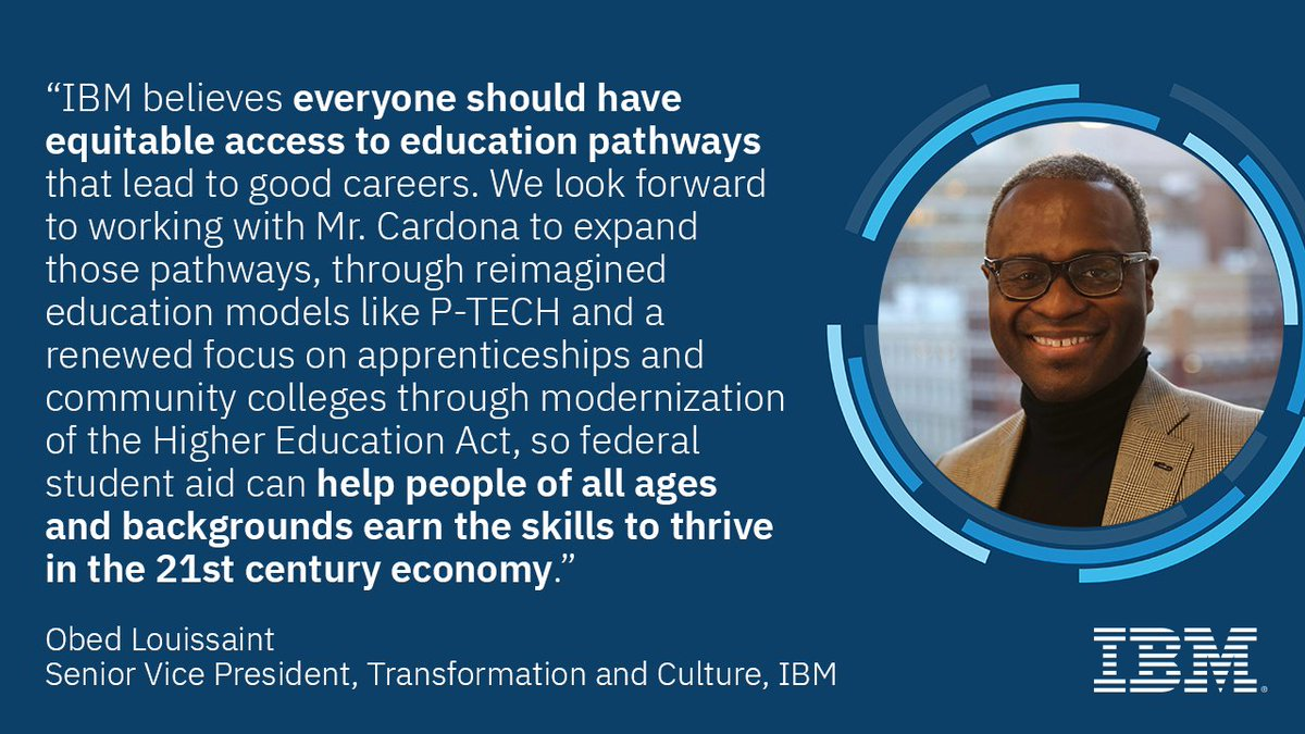 #IBM welcomes President-elect Biden's nomination of Miguel Cardona to lead @usedgov. His experience in K-12 public education, most recently as Connecticut's top school official, makes him uniquely positioned to shape the future of our nation's education system. #NewCollarJobs