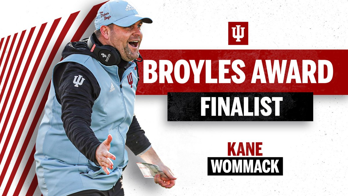 Congratulations to @KaneWommack on being named a @BroylesAward finalist - the first in #IUFB history.