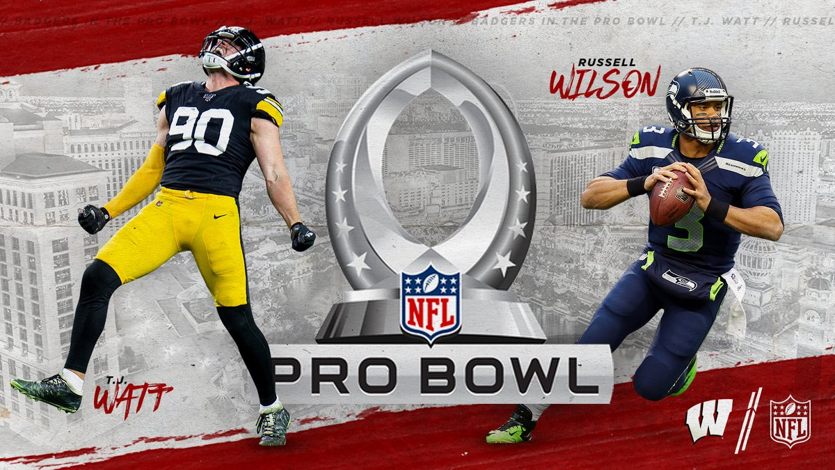 #ProBadgers   More like....  PRO BOWL BADGERS   Congrats @_TJWatt & @DangeRussWilson 👏