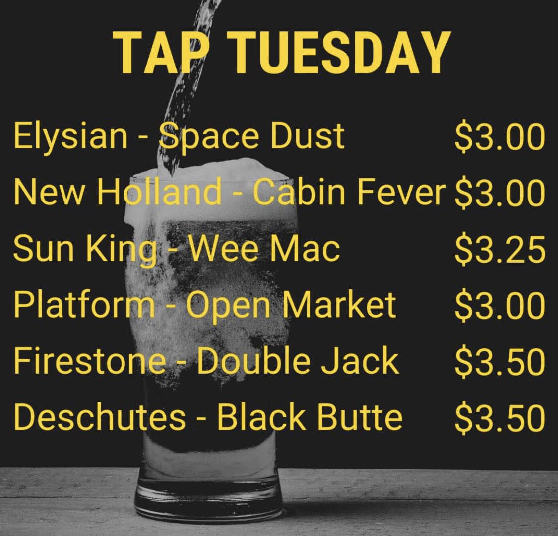 50% off draft beer for #TapTuesday 🍻