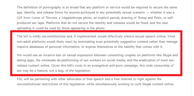 Sexual speech online will be silenced if #SISEA passes  🚫pornographic images, art & videos 🚫sexual scenarios