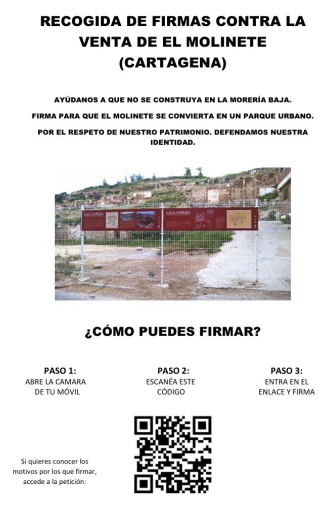#ElMolinete NO SE VENDE #Cartagena #PatrimoniodelaHumanidad #SOSCartagena #DespiertaCT #FirmaporElMolinete  Os animo a firmar para tener todos los apoyos posibles, los necesitamos.