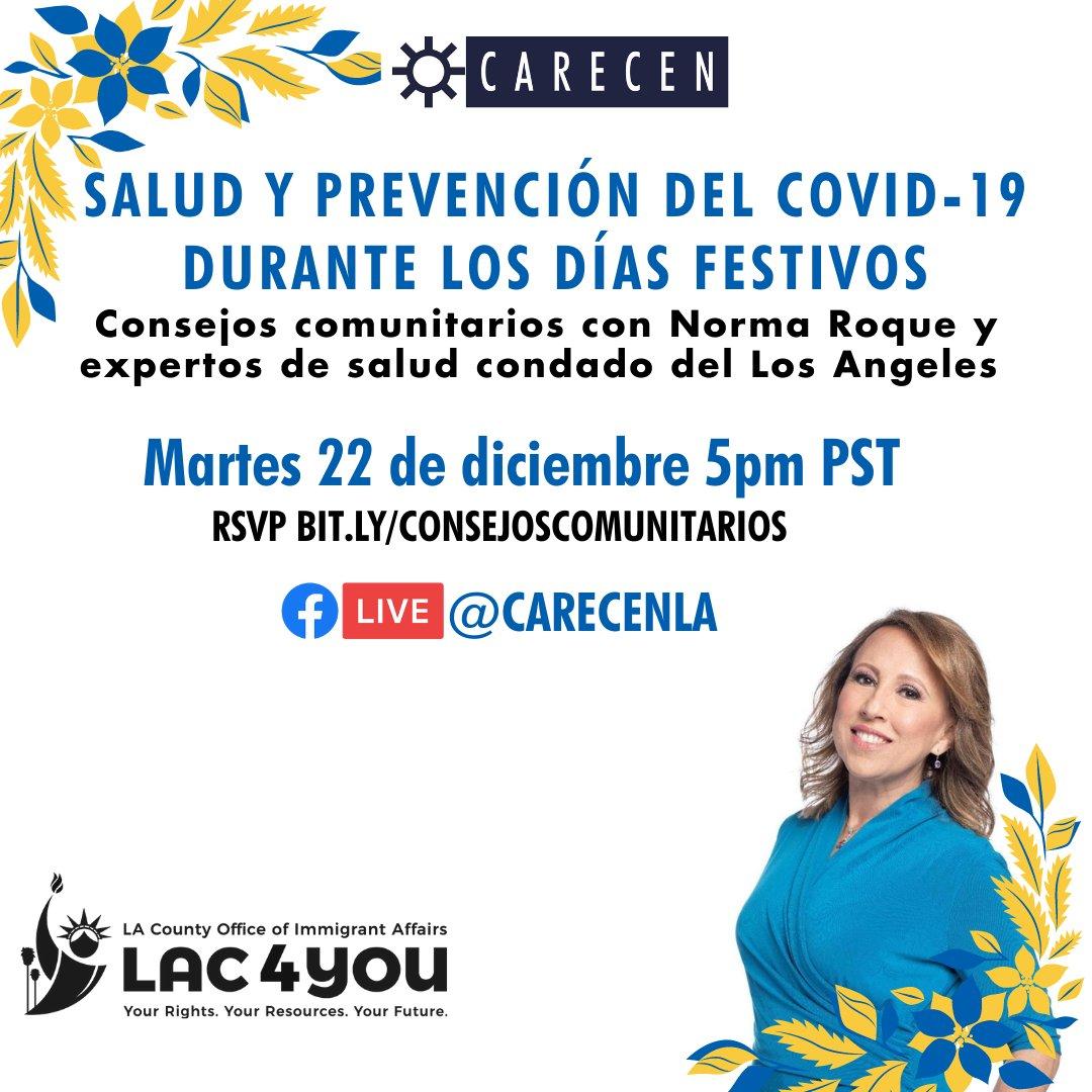 """@Carecen_LA y la Oficina de Asuntos de Inmigrantes del Condado de Los Angeles están presentando """"Salud y Prevención de COVID-19 Durante Los Dias Festivos"""", una conversación con la comunidad en español.Regístrese aquí: https://t.co/M5iENIasbc#COVID19 https://t.co/XTDc94UicY"""