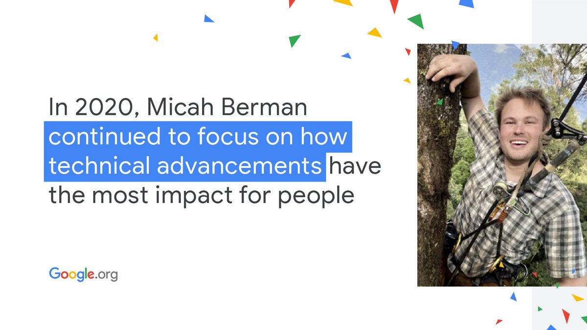 We're inspired by @micahber, Product & Technical Grantmaking Lead at #GoogleOrg. His advocacy for the responsible use of technology for #SocialGood helps nonprofits deliver the impact they seek. Hear his story: . #YearInReview