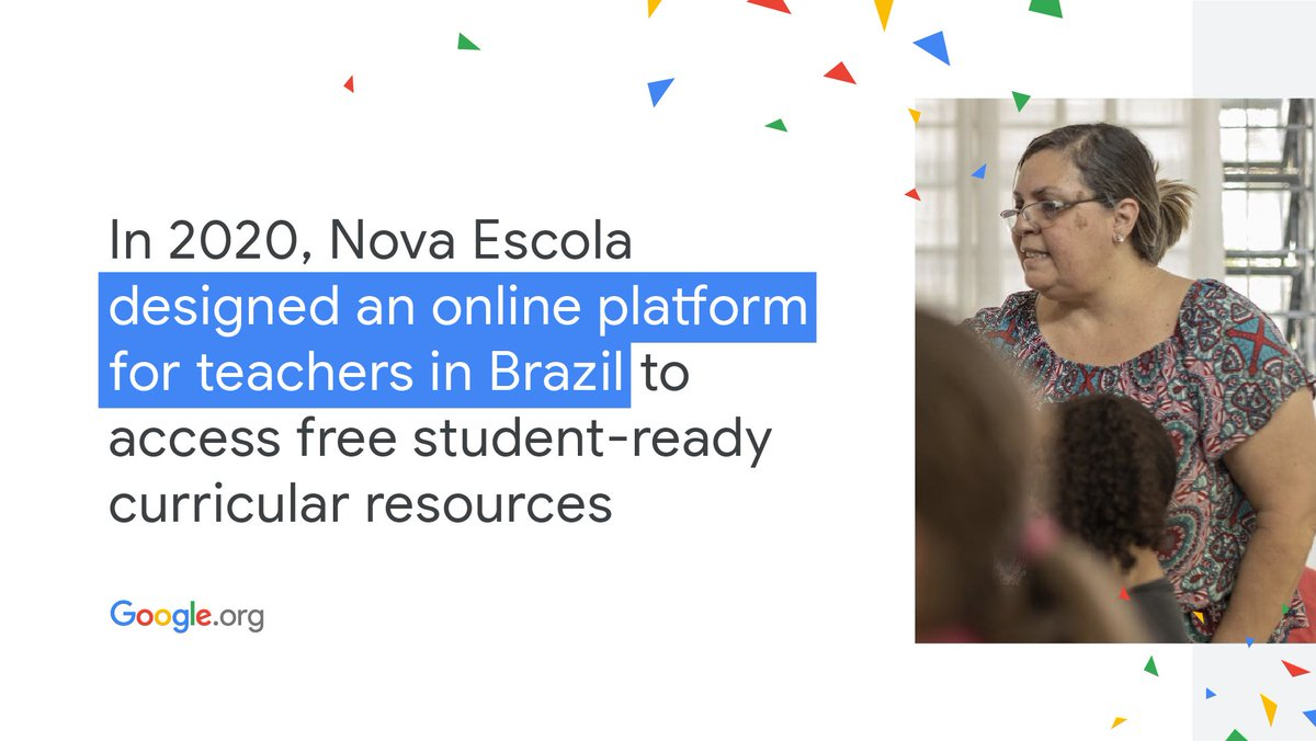 Happy #NewYear 🎊! What better way to kick off 2️⃣0️⃣2️⃣1️⃣ than learning about @novaescola's support for Brazil's classrooms amidst #DistanceLearning. With the help of a #GoogleOrg grant, here's how they gave teachers access to free resources:  #YearInReview