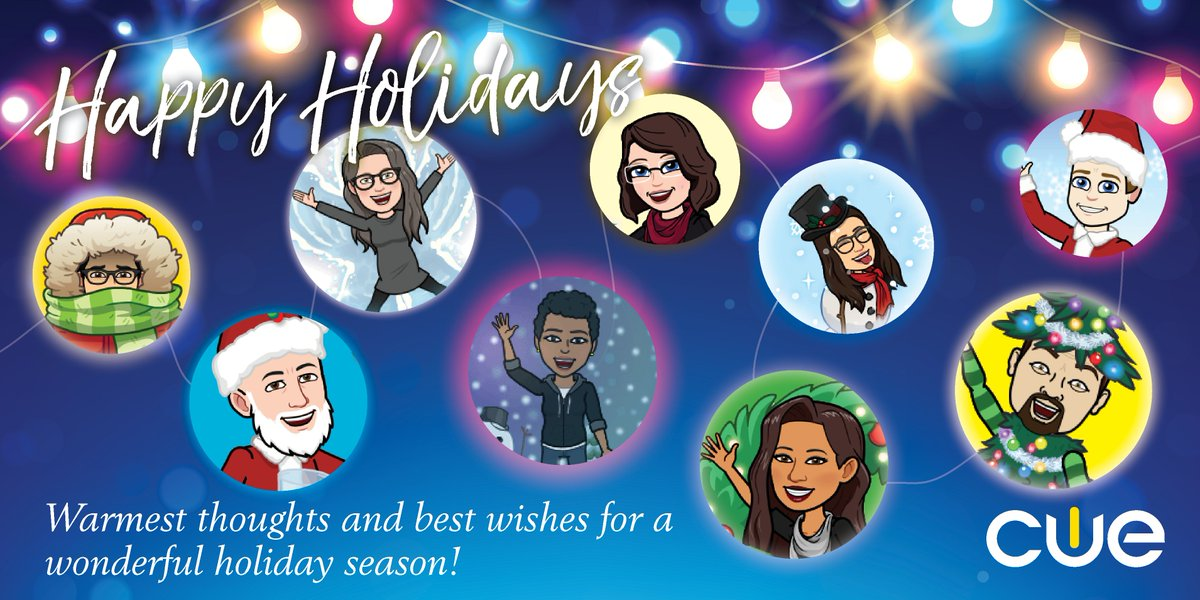 Happy Holidays from the CUE Team! May your days be filled with peace, hope, and joy this holiday season. #WeAreCUE