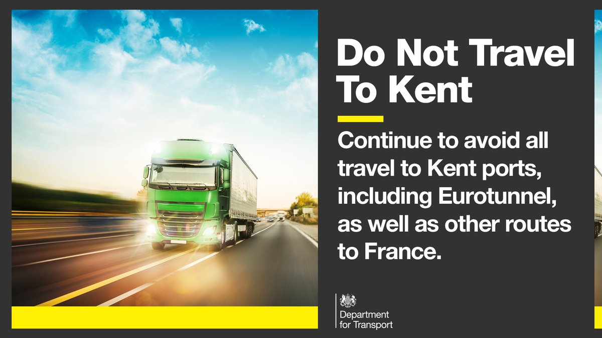 We have reached an agreement with French authorities to reopen the UK-French border.  Hauliers must not travel to #Kent due to continued disruption in the area.  More here 👉   For the latest updates follow @HighwaysSEAST