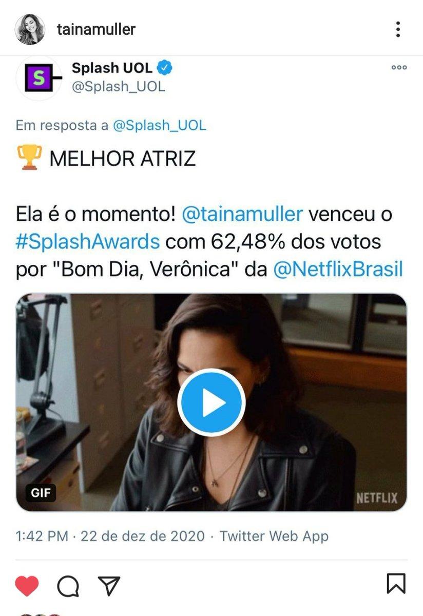 Pelo insta, Tainá agradeceu pelo #SplashAwards de Melhor Atriz. Disse-se emocionada e com uma infinita gratidão.  📲 tainamuller via instagram #tainamuller