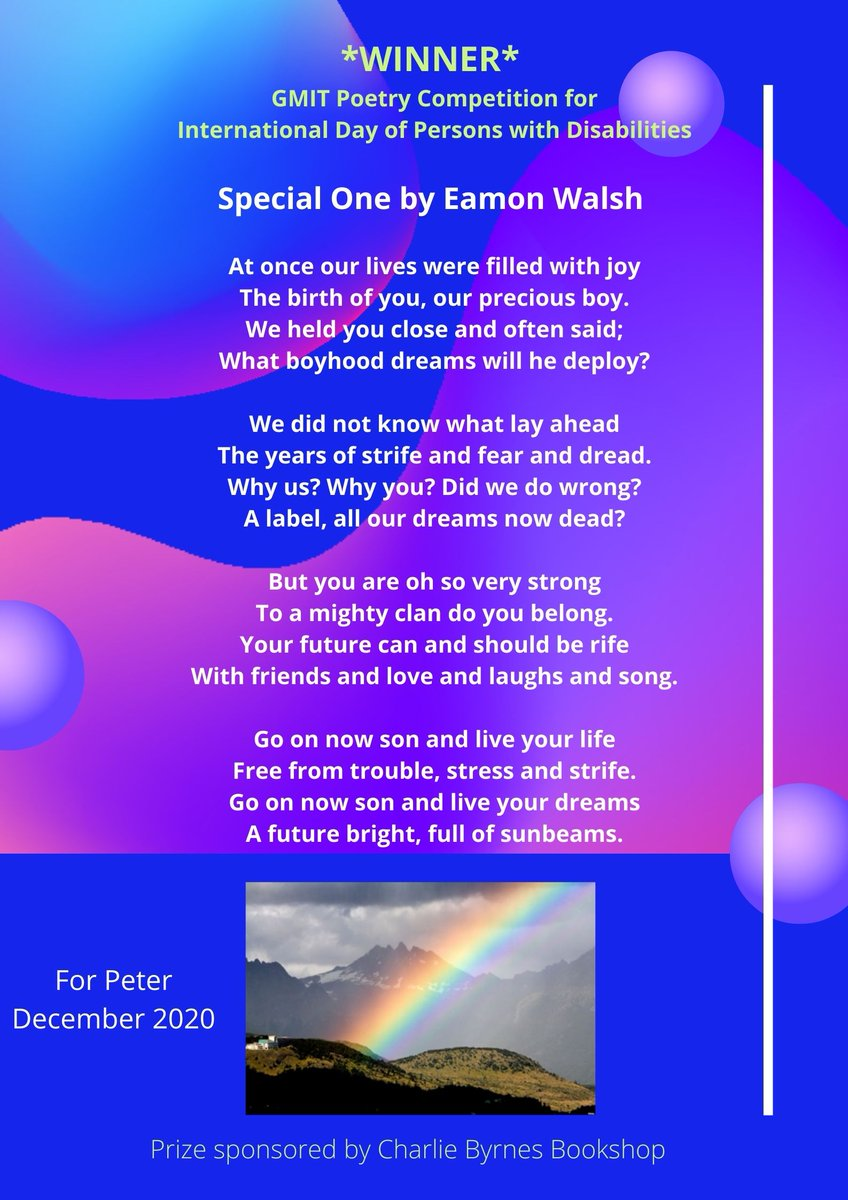 Congratulations to @eamongwalsh who won our #poetrycompetition with this very moving poem written for his son to celebrate the International Day of Persons with Disabilities #IDPWD2020. Those finishing both 1st & 2nd win vouchers from @ByrnesBooks. @GMITOfficial @poetryireland