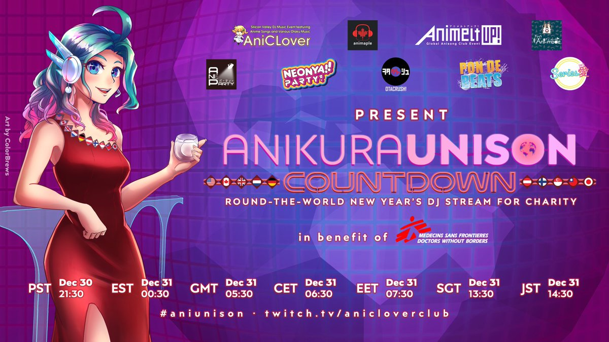 Join us and count down to the new year with @_AniMaple @AnimeltUP @Ani_mode @anisongparty @neonyaparty @OtaCrush @pondebeatslive @SeriesAi_Music @aniclover plus SG & JP guests at Anikura Unison Countdown!  45 DJs 30 hours Fundraising for @MSF    #aniunison