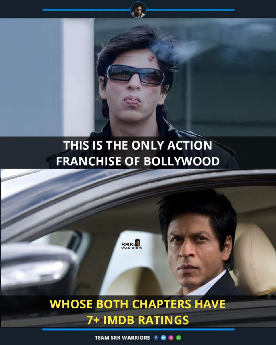 Replying to @iam_raheman_srk: RT @iamsrkraheman: RT @TeamSRKWarriors: Don 2 is the only Action Franchise of Bollywood, whose both Chapters have 7+ IMDB Ratings!💯🔥  #9yearsofDon2  #shahrukhkhan #SRK