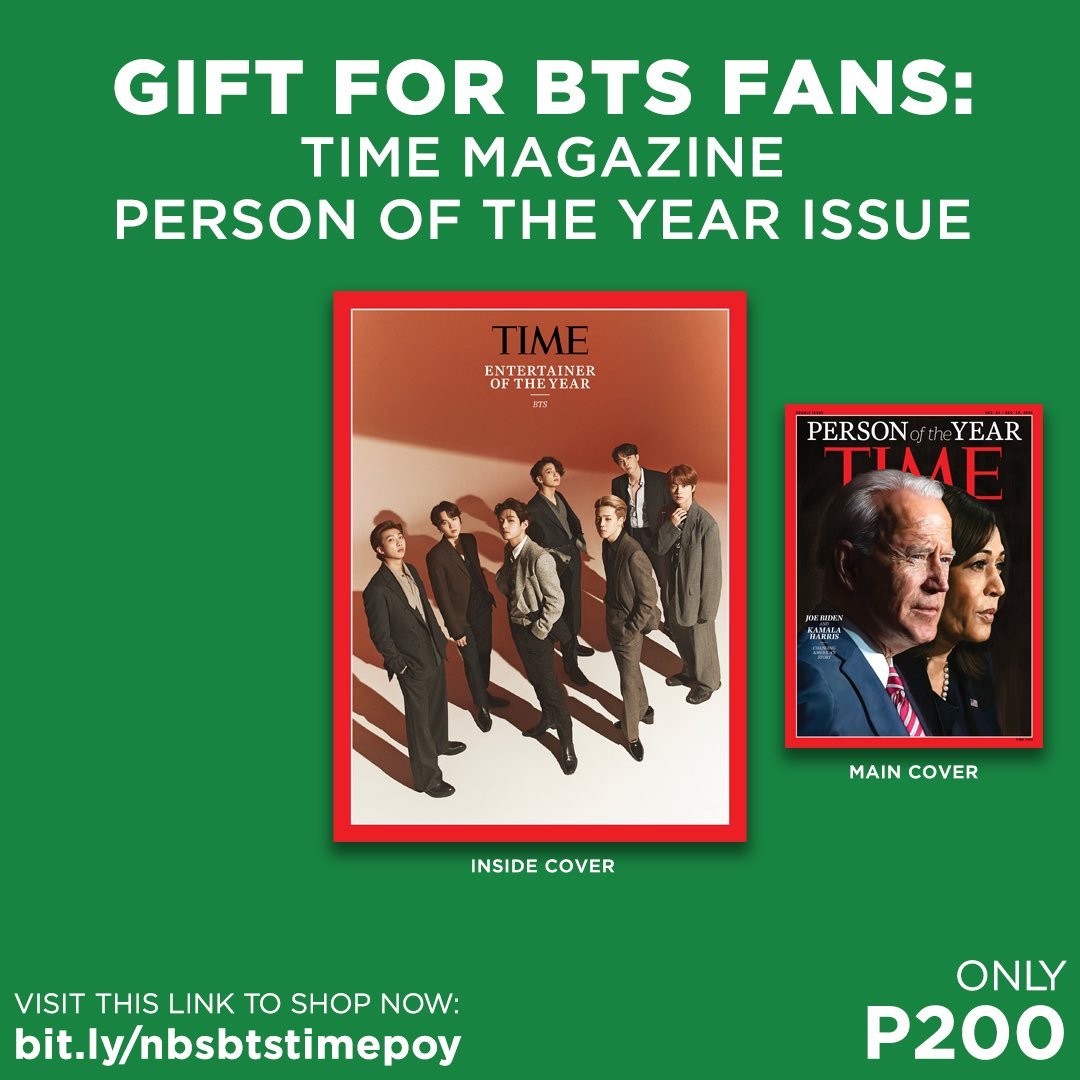 LAST STOCKS REMAINING: Grab your copy of TIME Magazine's Person of the Year Issue, featuring BTS on the inside cover, for only P200!  Shop now: .  #BTS #BTSArmy #TIME #TIMEPOY #NBSeveryday